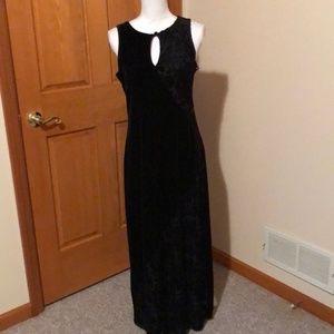 Carole little long Black stretch velvet dress sz8